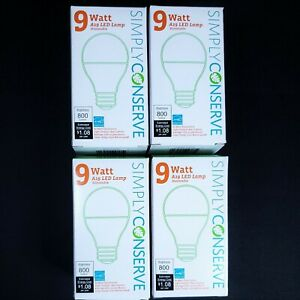 Simply Conserve 9W A19 LED Light Bulb 4 Pack