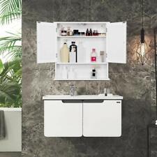 Double Door Mirror Indoor Bathroom Wall Mounted Cabinet Shelf Adjustable White