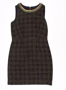 Laundry Shelli Segal Black & Gold Jeweled Sleeveless Tweed Sheath Dress Size 10