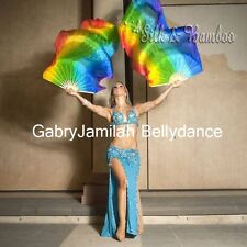 "1pair 1.8m*0.9m(70""x35"") flowy rainbow belly dance real silk fan veil+carry bag."