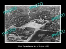 OLD 8x6 HISTORIC PHOTO OF WIGAN ENGLAND, AERIAL VIEW OF THE TOWN c1920 1
