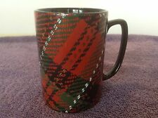 Fitz and Floyd COUNTRY PLAID Mug Cup Flat Top Handle Tartan Red Black Green VTG