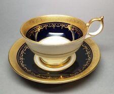 Aynsley GEORGIAN COBALT SMOOTH Tea Cup & Saucer Set 7348 READ #5