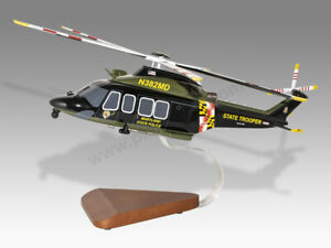 AgustaWestland AW139 Maryland State Police Handcrafted Solid Wood Display Model
