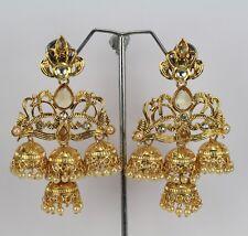 New Indian Fashion jewelry wedding polki kundan Women Long Earring jumka Dangle