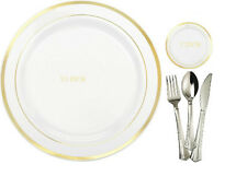 80 People Dinner Wedding Party Disposable Plastic Plates & silverware,gold rim