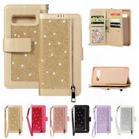 Bling Glitter Wallet Magnetic Zipper Case Cover For Samsung Galaxy S10 Plus S10E