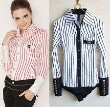 Classic Fashion Striped Long Sleeve Bodysuit Blouse AU S-8 M-10 L-12 XL-14 2X-16