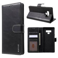 KAIYUE Wallet Case Echt Leder Handy Tasche Bag Schwarz für Samsung Galaxy Note 9