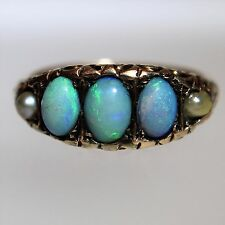 Victorian Semi Black Opal Pearl 9ct Rose Gold Ring size K ~ 5 1/4