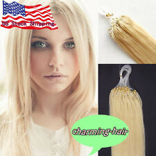 """Easy Micro Rings Bead Loop Tip Remy Human Hair Extensions 16"""" 18"""" 20"""" 0.5g/s USA"""