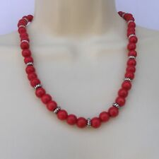 "Red Wood Beads Necklace 21"" Strand Silver Disk Spacers"