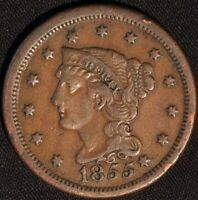 """1855 """"BRAIDED HAIR"""" LARGE CENT, SLANTED FIVES!"""