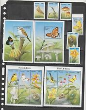 Tanzania 2000 butterflies insects birds mushrooms set+2klb+2s/s MNH