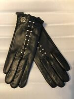 Michael Kors Black Leather Gold Studded Womens Tech MK Gloves MSRP $98 NEW