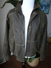 trapper leather jacket brown sz 54 pit to pit 26.5IN