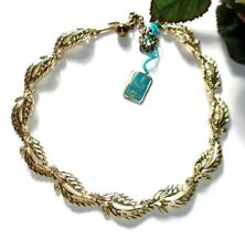 VINTAGE LISNER NECKLACE CHOKER SHINY RHODIUM GOLD TONE LEAVES CONES NWT