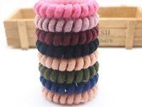 10 Colour Fluffy Spiral Coil Elastic Hair Ties Scrunchies Telephone Cord 55mm