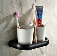 Oil Rubbed Bronze Wall Mounted Toothbrush Holder with Two Ceramic Cups zba197
