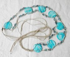 VINTAGE MACRAME BELT VERY 70S TURQUOISE 4 THONG &  SHELL & GLASS HIPPY CHIC