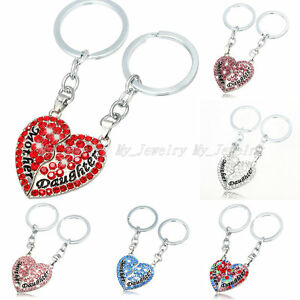 2PC Heart Family Mother Mom Daughter Girl Crystal Key Chains Keyrings Keychain