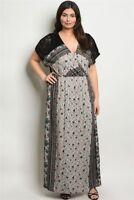 Womens Plus Size Black Floral Boho Maxi Dress 3XL New