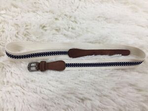 Abercrombie Kids White Navy Blue Canvas And Leather Belt Size Large / XL