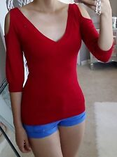 NWT Red Cold Off Shoulder V Neck Low Back 3/4 Puff Sleeve Shirt Sweater Top S
