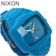 NIXON Rubber THE PLAYER Mens Watch Teal Turquoise Blue featuring a Real Diamond