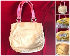 Fossil Tan Pink Stitch Handles Ruched Sides Canvas Fabric Tote Bag Open Top