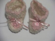 Baby cream/pink hand crochet bootees 0- 3months