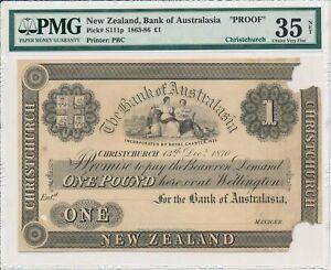 Bank of Australasia New Zealand  1 Pound 1870 Proof Christchurch PMG  35NET