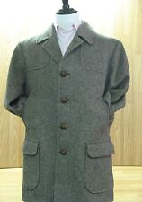 Vintage Pendleton Wool Coat, Brown Tweed, Leather Buttons, Tag Size: 46