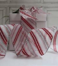 3 METRES RED WHITE GLITTER CHRISTMAS RIBBON WIRE EDGED GIFT WRAPPING  'CANDY II'