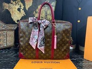 "LOUIS VUITTON 15"" Authentic Monogram Leather Canvas Custom Briefcase Laptop Bag"