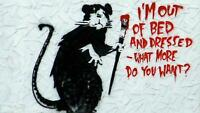 Giant Poster Art Print Banksy Out of Bed Rat - A5 A4 A3 A2 A1 A0 Sizes
