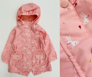 Mothercare Baby Girls Jacket Pink Bunny Rabbit Hooded Raincoat Summer Coat NEW