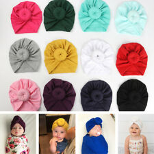 Baby Girls Donuts Hats Cotton Turban Knot Stretchy Headwrap Newborn Toddlers