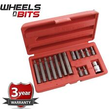 15PC HEXAGONAL HEX ALAN KEY BIT SET 1/2 INCH SOCKET 30 & 75MM AND STORAGE CASE