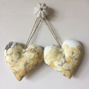 Pair Of Cushioned Heart Door Hangers in Laura Ashley Hydrangea Camomile Fabric