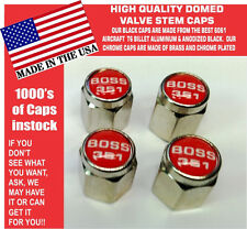 Chrome Ford Mustang Tribute Fastback 351 Red Valve Stem Caps - Nice