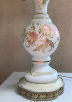 Antique Bohemian Moser Hand Painted & Gilded Frosted Glass Table Lamp German