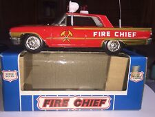 Ichiko Fire Chief Tin Friction Car Siren Sounds & Moving Lights In Box