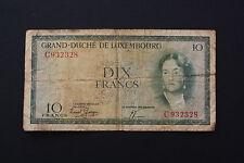 Billete De 10 francos de Luxemburgo 1955/56