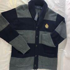 Polo Ralph Lauren Cardigan Varsity Sweater Shawl Collar Crest Striped Large NWT
