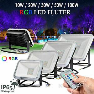 ⭐⭐RGB LED Floodlight Colour Changing Outdoor Garden Yard Spotlight Waterproof ZE