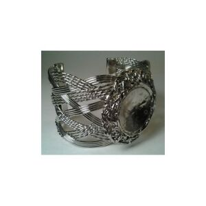 New  Rhodium Plated Woven Bangle - Round Bezel