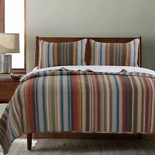 BEAUTIFUL LODGE CABIN BROWN RED BLUE RUST GREEN STRIPE RUSTIC COZY QUILT SET