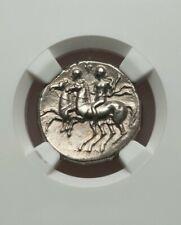 Calabria, Taras Didrachm Two Riders NGC AU Ancient Silver Coin
