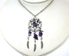 Dreamcatcher native american style necklace with amethyst gemstones mythical